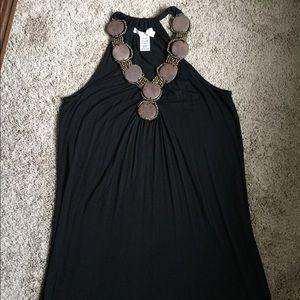 Max studio beaded wood neckline dress size small